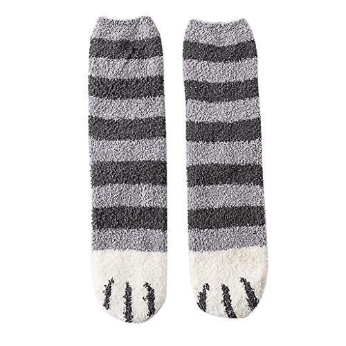 Somerl Socken Cat Socken Damen Kawaii Kuschelsocken Warm Slipper Socks Frauen Cute Meow Baumwolle Mädchen Haussocken Bettsocken Weihnachtssocken Stricksocken Winter(Gray,Free) -