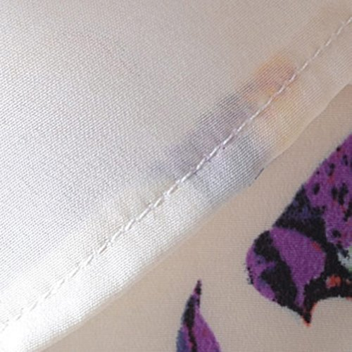 VOBAGA Damen Vogel Herz Drucken Kurzen Ärmel Chiffon Top T-Shirt Blusen bird pattern