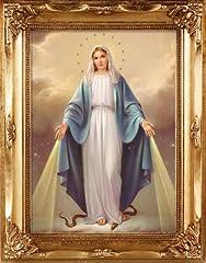 Idea Regalo - Madonna miracolosa quadro con cornice in legno Gilt oro da appendere alla parete 24cm 19cm 83255