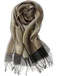 Prettystern - décoratif deux couches facile Matériau soie et métal longue écharpe chatoyante - 11 couleurs