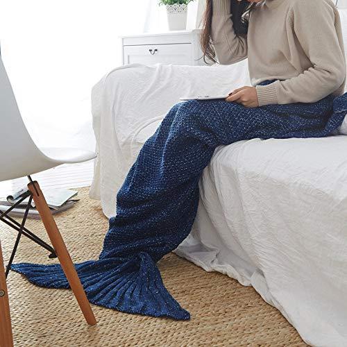 XILIUHU Handarbeit Häkeln Mermaid Decke Handgefertigt aus Gewirken schlafen Wickeln atmungsaktiv gestrick Sofa Mermaid Schwanz Decke Bettwäsche Plaids Tasche, Navy, M (140 X 70 cm) -