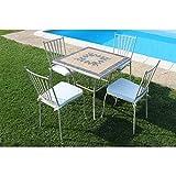 Set Tavolo Giardino Quadrato Fisso con Piano in Mosaico 80 X 80 con 4 Sedie in Ferro Tortora per Esterno Giardino