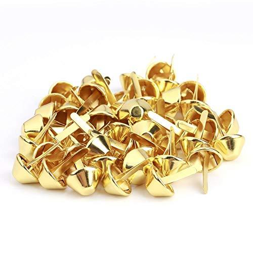 50Pcs Nailhead Stud, Geldbörse Handtasche Kegel Füße Nailhead Stud Spike Leder Craft Supplies(15mm-Gold)