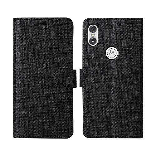 CRESEE Motorola One Hülle, Handyhülle Leder Tasche Flip Case Schutzhülle Bildschirmschutz Magnetische Cover Standfunktion Kartenfächer Stoßfestes Brieftasche Tasche Fall für Motorola One (Schwarz)