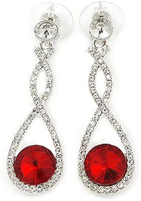 Novia de la boda/fiesta/rojo/transparente cristal austriaco pendientes de gota chapado en rodio en infinito - 50 mm L
