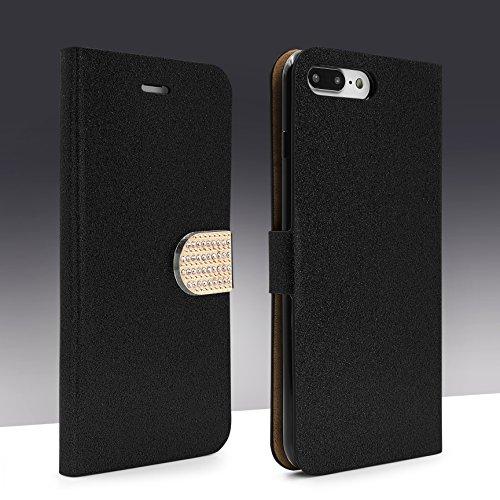 Urcover® Bling Glitzer Apple iPhone 7 Plus Wallet | Handy Schutz-Hülle in Pink | Kartenfach & Standfunktion | Flip-Cover mit Magnet-Verschluss | Kunststoff Glitzer Case mit Strass-Steinen | Smartphone Schwarz