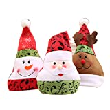 3Stk Weihnachten Mütze Nikolaus Mütze Kopfbedeckung für Weihnachten, Party, Neues Jahr, Fest, Familie, Büro, Restaurant