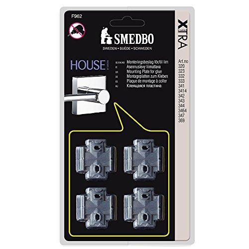 SMEDBO Montageplatten Xtra für Haus Serie 4Stück, Silber, 4-TLG. -