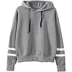 MORCHAN Womens Long Sleeve Hoodie Sweat-Shirt à Capuche Pull à Capuche Tops Blouse (FR-44/CN-S, Gris)