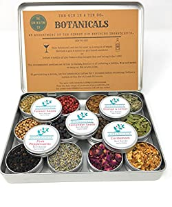 Gin Botanicals & Spices Gift Set– Garnish your Gin and Tonic with 12 different Botanicals | Infuse Gin and Tonic Cocktails | Includes Orange & Lemon, Juniper Berries, Allspice, Rose Petals, Fennel Seeds, Cardamom, Coriander, Pink Peppercorn, Lemon Grass,