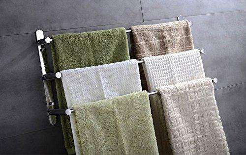 LONGJUNJIE Edelstahl-Handtuchhalter/Handtuchhalter 3 Schichten Badezimmerregal Wand Badezimmer Zubehör 38/48/58cm