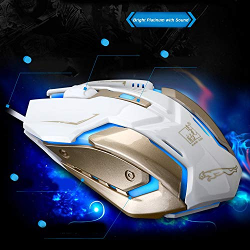 VCB K1 Silent Mute Wired Lichtschranke USB Game Mouse Gamer Computer Mäuse - Weißgold