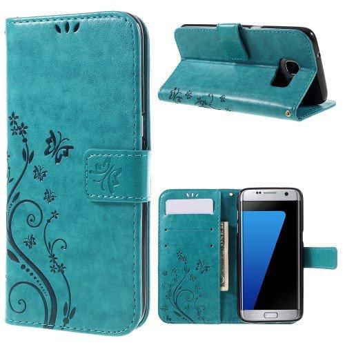jbTec® Flip Case Handy-Hülle zu Samsung Galaxy S7 Edge/SM-G935 - Book Muster Schmetterlinge S16 - Handy-Tasche Schutz-Hülle Cover Handyhülle Ständer Bookstyle Booklet, Farbe:Türkis