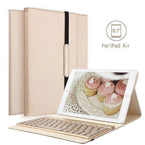 IPad Air Bluetooth Tastatur Hülle, Boriyuan Stand Folio PU Hülle mit 7 Farben hinterleuchtet abnehmbare Wireless Bluetooth Tastatur für Apple Ipad Air 1 - (Gold) Apple Ipad Air Gold