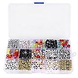 Tinksky Una scatola di 1100pcs miscelati acrilico alfabeto lettere perline cubo Charms per braccialetti di bande del telaio fai da te