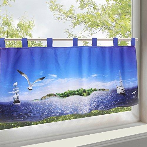 Moderne und dekorative Scheibengardine Bistrogardine zartes Voile mit trendigem Fotoprint / Digitaldruck mit wundervoll bestickten Leuchtürmen - hochwertig verarbeitet - halbtransparent und lichtdurchlässig - (H/B 45x115) - Küchengardine - Panneaux - ein