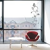 Indigos 4051095319245 Wandtattoo/Wandaufkleber - f82 abstraktes Design/filigrane Planze mit geschwungenen Ästen und einem schönen Schmetterling, Vinyl, glasdekor, 80 x 29 cm