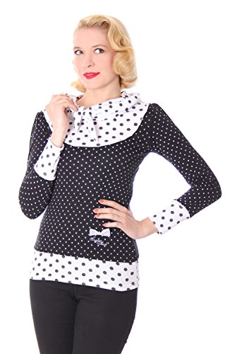 SugarShock Madlen Polka Dots 50er retro Pin Up Rockabilly Schalkragen Longsleeve Shirt -