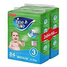 Fine Baby Diapers, Size 3, Medium 4–9kg, Mega Pack, 2 packs of 84 diapers, 168 total count