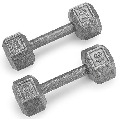 Crown Sporting Goods Hanteln aus Gusseisen, sechseckig, mit Hammerschlag-Finish, 4,5 kg, 2 Stück (Cap Hantel Gewicht Set)