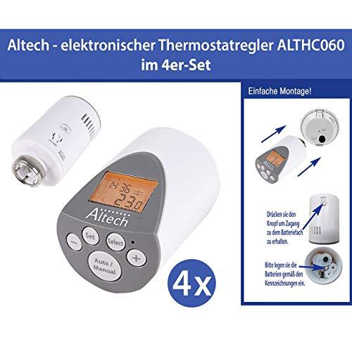 4 Stück Elektronischer Heizkörperthermostat Thermostat Thermostatventil Altech AH60