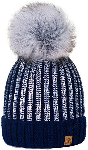Sombrero de las Mujeres Gorro de invierno de para mujer con y pompón  multicolor Círculo de 5907ae2f92e