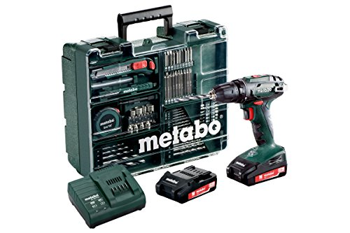 Metabo 602207880 Akkuschrauber/Bohrschrauber BS 18 Set Mobile Werkstatt | +Schnellspannfutter, Gürtelhaken, 2 Akkus, Ladegerät, Koffer, Zubehör Set (Li-Ion 18V 2Ah)