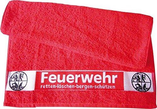 Handtuch 100x50cm FEUERWEHR und Signet Retten Löschen Bergen Schützen 100% Baumwolle (Löschen Aus)