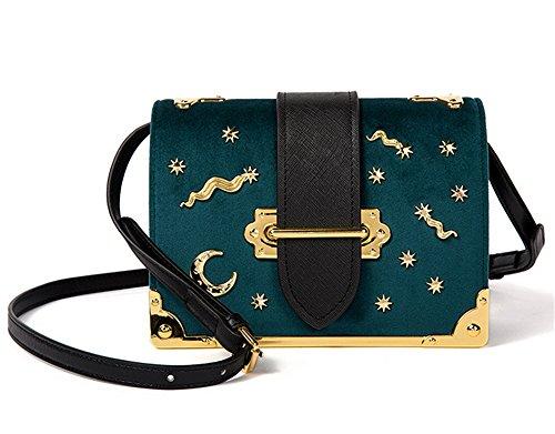 Box Winter diagonal Retro Schulter Damen XinMaoYuan quadratische und Paket Kleine Schnalle Mond samt Tasche Grün Herbst goldener Flip wUEOqq7X