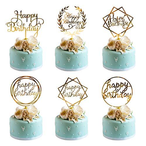 Whaline 6 Stück Acryl Cake Topper Geburtstag Gold Happy Birthday Tortendeko, Geburtstagskuchen Tortenstecker Glitter Topper Kuchendekoration