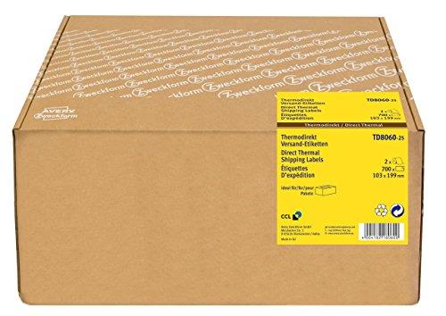 Avery Zweckform TD8060-25 Thermodirekt Versandetiketten (103 x 199 mm, 2 Rolle/700 Etiketten) weiß