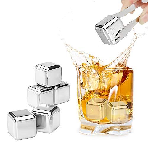 REIDEA Whisky Steine, Geschwindigkeit Eingefroren Eiswürfel, Wiederverwendbare kühlsteine, Zum Kühlen Von Whiskey Wein, Geschenke für Cocktail/Whiskyliebhaber, Bar Accessoires (8 Stück)