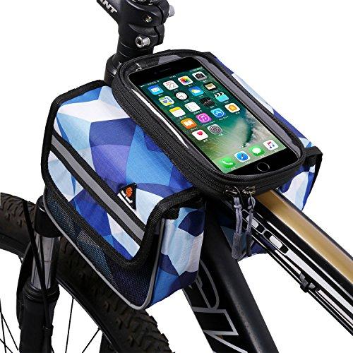 West Biking großes Fassungsvermögen Verschleißfest Outdoor Fahrrad vorne Fram Tasche mit 15,2cm Handy Touch Bildschirm Halter Blue-A