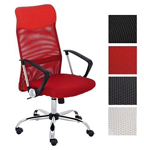 CLP Bürostuhl Washington V2 höhenverstellbarer Drehstuhl mit Wippfunktion | Schreibtischstuhl mit Netzbezug I stabiles Metall Drehkreuz Rot