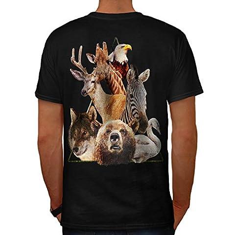 Bière Loup Aigle Animal La nature Amour Men XL T-shirt le dos | Wellcoda