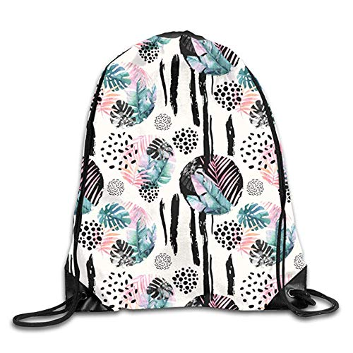 HLKPE Funky Leopard Tiger Zebra Print Drawstring Backpack Travel Bag Gym Outdoor Sports Portable Drawstring Beam Port Backpack for Girl Boys Woman Men