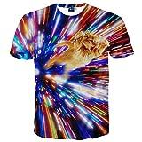 Pizoff Unisex Digital Print Schmale Passform T Shirts mit Katzen Cat 3D Muster, Y1625-26, XXL