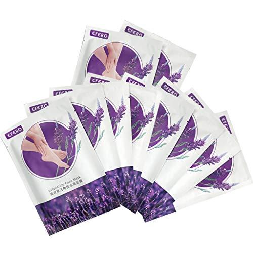 Fuß peeling maske,Füße Maske,Fuß Peeling Socken,10 Paar Foot Maske Lavendel duftende natürliche Peeling-Fußreparatur für raue Haut und zur Entfernung von Schwielen in 7 Tagen - DAKERTA