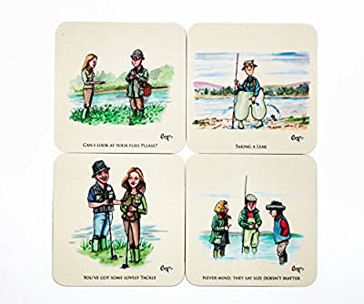 4 Fly Fishing drinks coasters by Bryn Parry. Gifts for fishermen. by Bryn Parry Studios