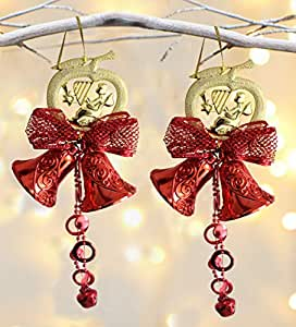 TIED RIBBONS Christmas Home Office Decorations Wall Door Hanging Bells-Pack of 2