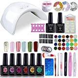Kit Complet Vernis Semi permanent 36W Lampe UV LED Gel Polish Faux Ongle Basecoat Primer Topcoat Poudre Huile Cuticule Coupe ongle Manucure Set