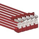 1Attack. de Cat.6Cable de Red ángulo 90Grados CAT6Patch Cable (SFTP PiMF) 1000Mbit/s Conector RJ 45Compatible con CAT5CAT5E CAT6CAT6a CAT7cat7a cat8 5 Stück Rot 1 m