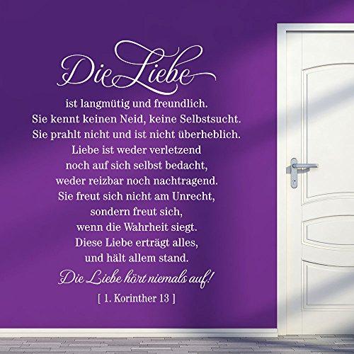 KLEBEHELD® Wandtattoo Zitat Die Liebe ist langmütig und freundlich.  Bibelzitat   Korinther 13   Größe 117x150cm, Farbe beige Korinther Wandtattoo