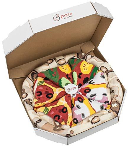 Rainbow Socks - Pizza MIX Caprichosa Vege Pepperoni Mujer Hombre - 4 pares de Calcetines - Tamaño UE 36-40
