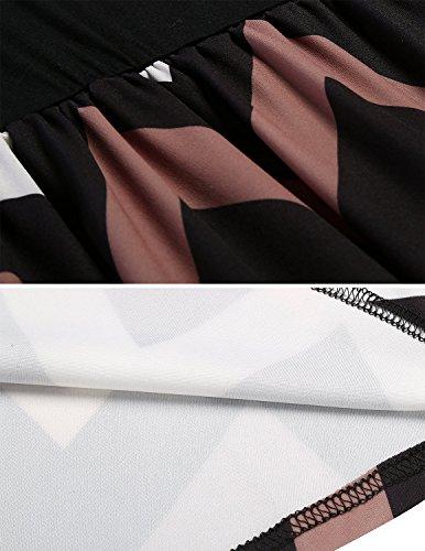 M-Queen Femmes Mini Robe de Plage Été Imprimé Rétro Manches Longues Col Rond Tunique Casual Robe Noir