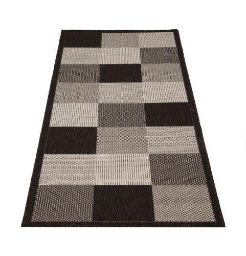 Küchenläufer Flachgewebeteppich Karo Design grau 80x200cm
