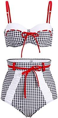 Cuadros Retro Pin Up Vintage Mujer Bikini con alta cintura (Juego de 2piezas)