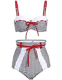 Bikini estilo vintage, pin up, a cuadros, con cintura alta, 2 piezas