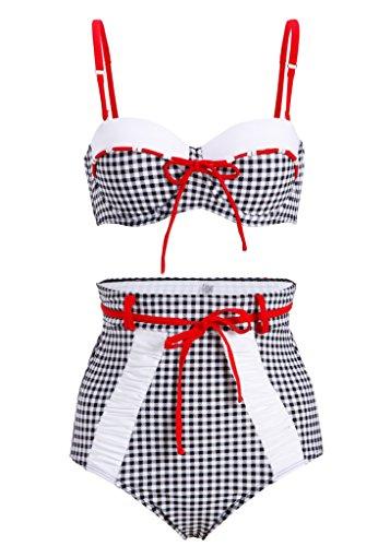 Cuadros Retro Pin Up Vintage Mujer Bikini con alta cintura (Juego de 2