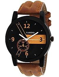 Tarido New Style Black Dial Leather Strap Analog Wrist Watch For Men/Boy